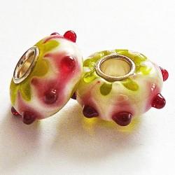 Perle en verre gros trou picot jaune 14mm