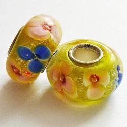 Perle en verre gros trou jaune fleurs 14mm