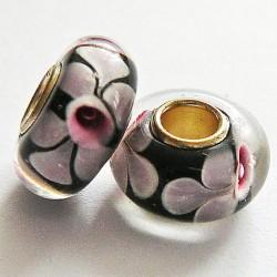 Perle en verre gros trou noir fleur rose 14mm