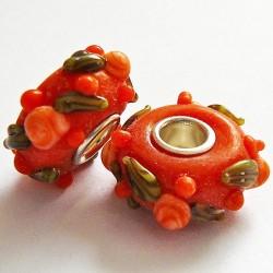 Perle en verre gros trou orange fleur 14mm
