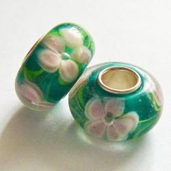 Perle en verre gros trou vert fleur rose 14mm