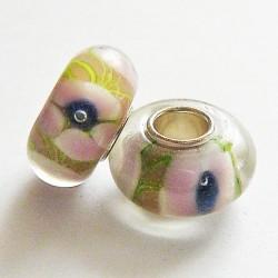 Perle en verre gros trou rose fleur 14mm