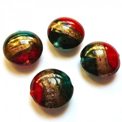 Perle ronde en verre bleu or rouge 20mm
