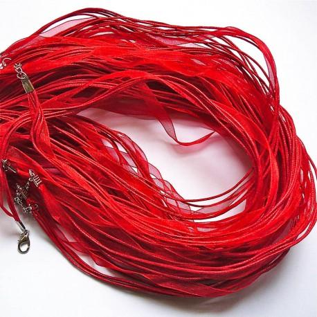 Tour de cou organza rouge 3 cordons 45cm