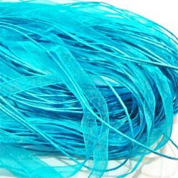 Tour de cou organza turquoise 3 cordons 45cm
