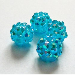 Perle shamballa ronde turquoise strass 12mm